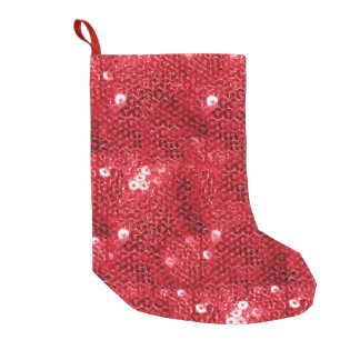Red Sequin-Look Background Small Christmas Stocking