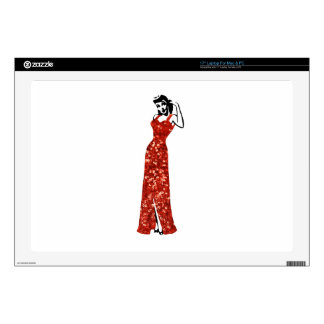 "red sequin vintage pin up 17"" laptop decal"