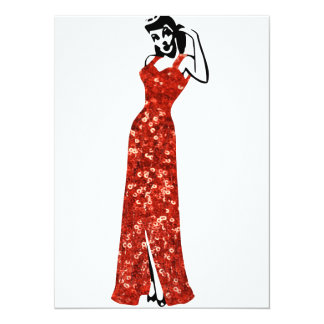 red sequin vintage pin up 5.5x7.5 paper invitation card
