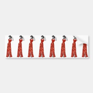 red sequin vintage pin up bumper sticker