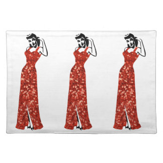 red sequin vintage pin up cloth placemat