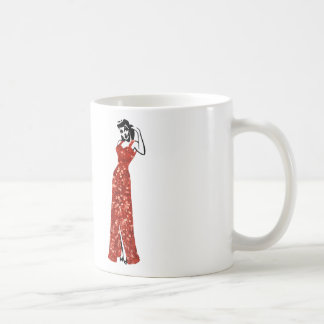 red sequin vintage pin up coffee mug