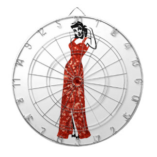 red sequin vintage pin up dart board
