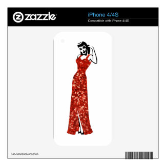 red sequin vintage pin up iPhone 4 skins