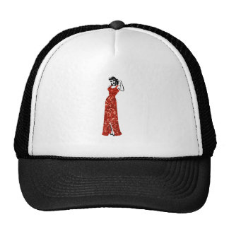 red sequin vintage pin up trucker hat