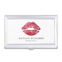 Red Sequins Glitter Lips Makeup Artist Business Card Case