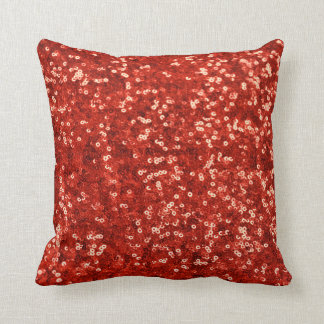 Red sequins glitter throw pillow