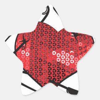 red sequins safety pin star sticker