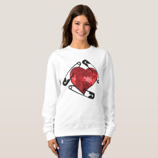 red sequins safety pin womens sweatshirt