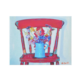 Red Shabby Chic Chair Canvas Print