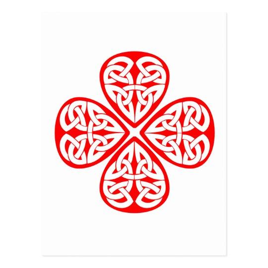red shamrock celtic knot postcard