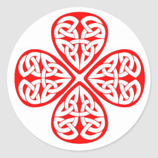 red shamrock celtic knot classic round sticker