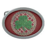 Red Shamrock On Celtic Knots Belt Buckle
