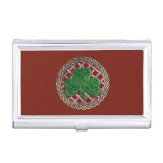 Red Shamrock On Celtic Knots Business Card Holder