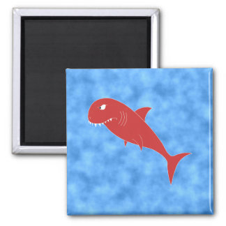 Red Shark. 2 Inch Square Magnet