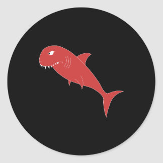 Red Shark on Black. Classic Round Sticker