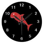Red Shark on Black. Round Clocks