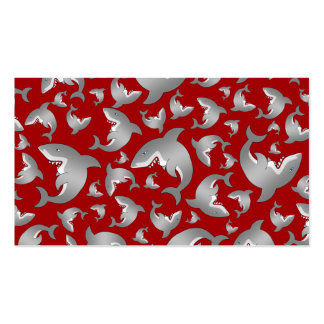 Red shark pattern business card