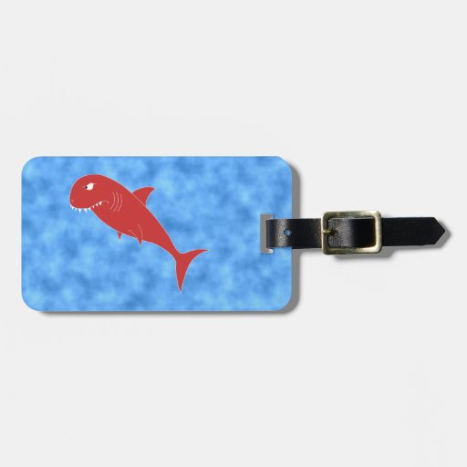 Red Shark. Tag For Bags