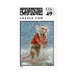 Red Shawl Rat in Snow Postage