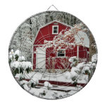 Red Shed During Winter Dart Board