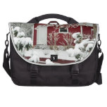 Red Shed During Winter Laptop Commuter Bag