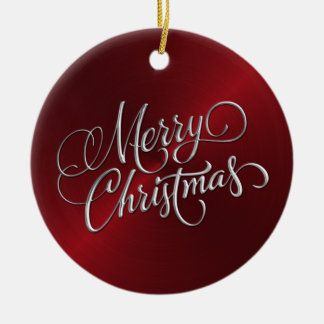 Red Sheen and Silver Merry Christmas Ceramic Ornament
