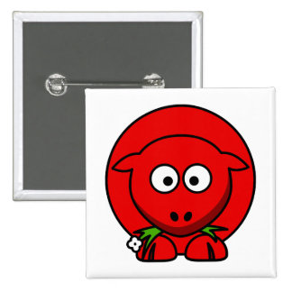 Red Sheep Pinback Button