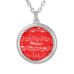 Red Sheet Music Necklace