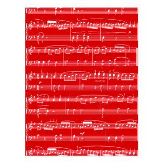red sheet music postcard