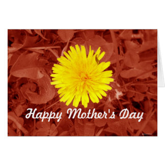 Red Shifted Dandelion Mother's Day Card
