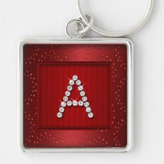 Red Shimmer and Sparkle with Monogram Keychain