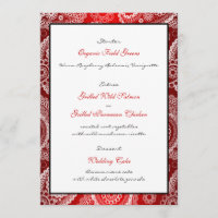 Red Shimmer Satin White Lace Paisley Menu Card