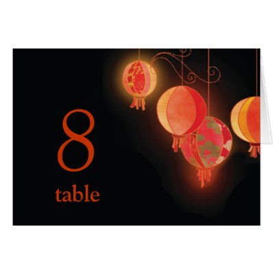 Red Shimmering Lanterns Wedding Table Number Card