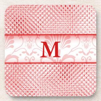 Red Shiny Bling Pattern Monogrammed Beverage Coaster