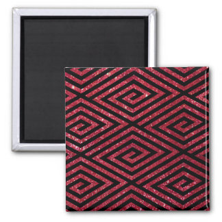 Red Shiny Glitter Black Pattern 2 Inch Square Magnet