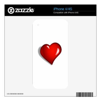 Red Shiny Heart Skin For iPhone 4S