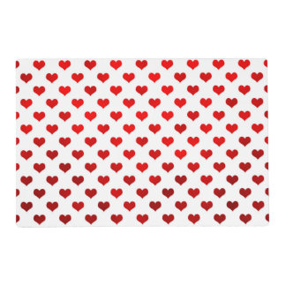 Red Shiny Hearts White Background Polka Dot Placemat