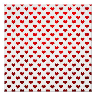 Red Shiny Hearts White Background Polka Dot Poster