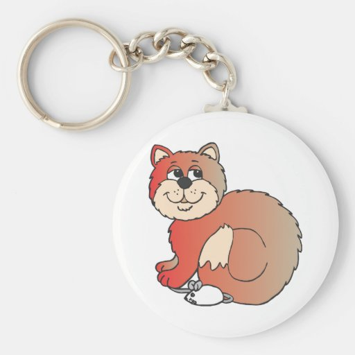 red shiny proud Cat sitting on Mouse Key Chain