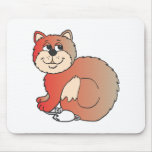 red shiny proud Cat sitting on Mouse Mouse Pad