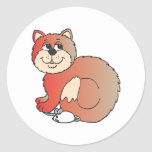 red shiny proud Cat sitting on Mouse Round Sticker