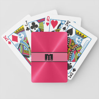 Red Shiny Stainless Steel Metal 6 Bicycle Playing Cards