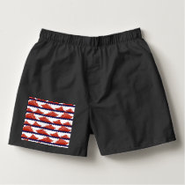 Red Ships on Nautical Blue Waves Boxers