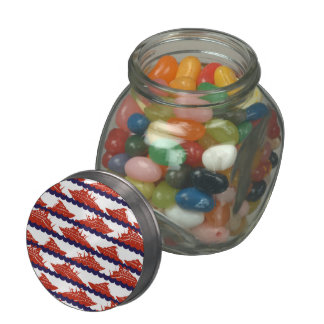 Red Ships on Nautical Blue Waves Glass Candy Jar