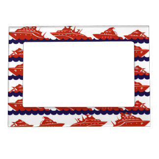 Red Ships on Nautical Blue Waves Magnetic Photo Frame