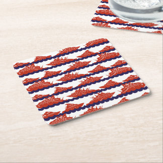 Red Ships on Nautical Blue Waves Square Paper Coaster