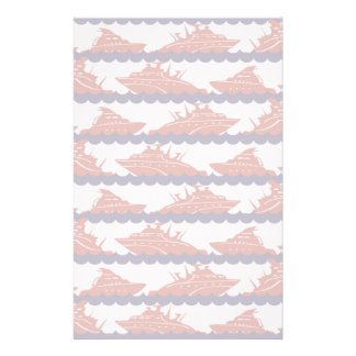 Red Ships on Nautical Blue Waves Stationery