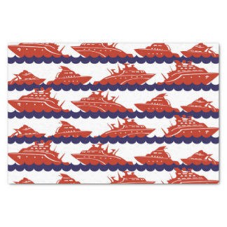 Red Ships on Nautical Blue Waves Tissue Paper