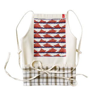 Red Ships on Nautical Blue Waves Zazzle HEART Apron